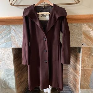 Burberry size 4 brown belted wool coat NWT